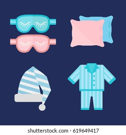 Sleep pajamas icon vector illustration bed sign symbol isolated dream bedroom bedtime pyjamas pillow