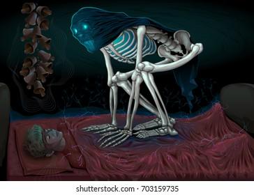 Sleep paralysis. Horror scene with demon in the bedroom. Vector illustration