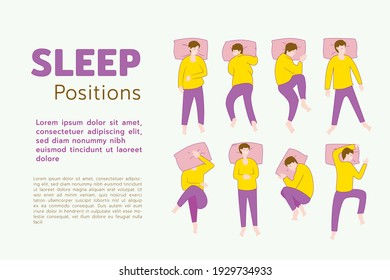 Sleep positions of human, how posing human can be in sleeping time,  flat vector illustration