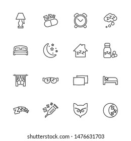 Sleep, Sleeping, Insomnia outline icons set - Black symbol on white background. Sleep, Sleeping, Insomnia Simple Illustration Symbol - lined simplicity Sign. Flat Vector thin line Icon editable stroke