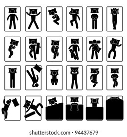 Sleep Sleeping Position Style Posture Method Way on Bed Icon Symbol Sign Pictogram