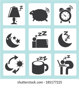 sleep time icons set