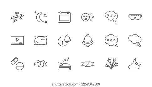 Sleep Vector Line Icons Set. Contains such Icons as Alarm Clock, Bed, Insomnia, Pillow, Sleeping Pills, Bell, Glasses for sleep, Bubble and more. Editable Stroke. 32x32 Pixel Perfect
