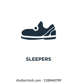 Sleepers icon. Black filled vector illustration. Sleepers symbol on white background. Can be used in web and mobile.
