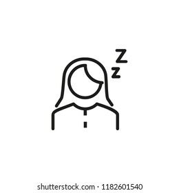 Sleepiness line icon. Sleeping woman, drowsy, fatigue. Sleep concept. Can be used for topics like insomnia, daily routine, health care