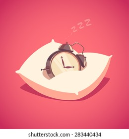 Sleeping alarm clock. Isolated object  background.