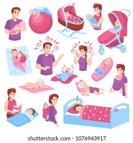 Sleeping babies toddlers kids children in crib stroller parents arms pink blue icons collection isolated vector illustration