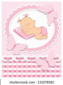 Sleeping baby girl in pink frame
