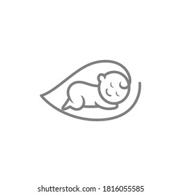 sleeping baby and leaf in one line art logo