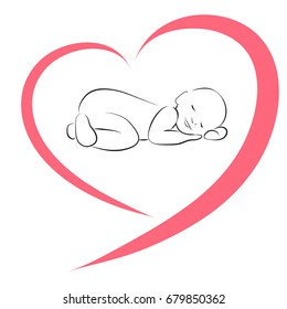 Sleeping baby silhouette in the heart. Simple lines vector illustration. Newborn baby icon. Stylized art for logos, signs, icons and design cards, invitations and baby shower