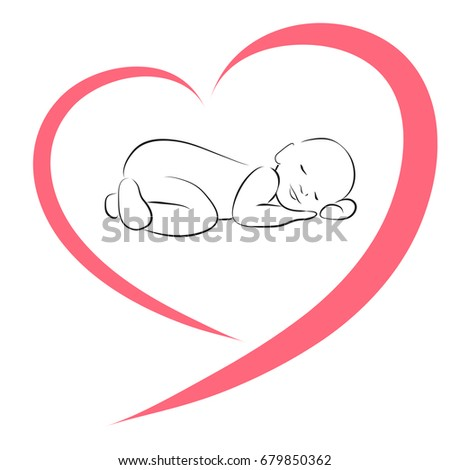 sleeping baby silhouette heart simple lines のベクター画像素材