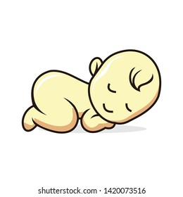 Sleeping baby silhouette stylized line logo. Cute simple vector illustration.