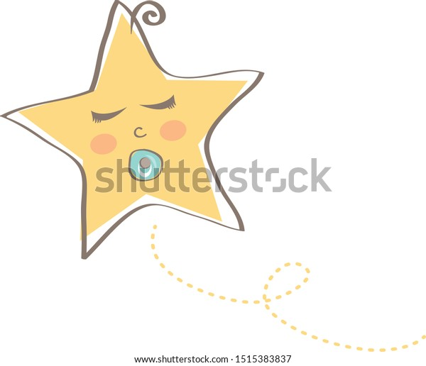 Sleeping baby star with soother in its mouth
