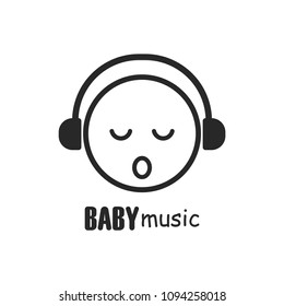 sleeping baby wearing headphone icon