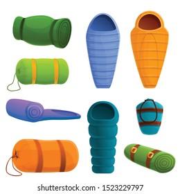 Sleeping bag icons set. Cartoon set of sleeping bag vector icons for web design