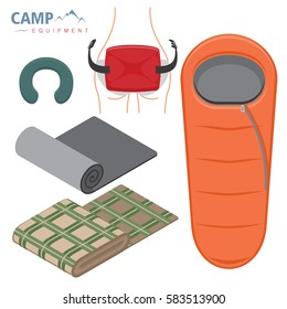 Sleeping bag, neck pillow and camping mat, isolated objects on white. Touristic equipment things. Flat tyle vector