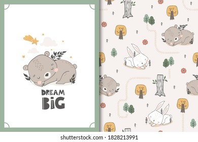 Sleeping bear and bunny baby animal characters. Cute cartoon doodle card and seamless background pattern set. Hand drawn textile surface design vector illustration.