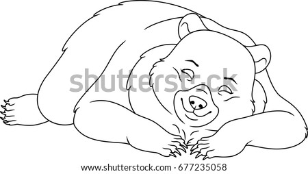 Sleeping Bear Coloring Page Stock Vector Royalty Free 677235058