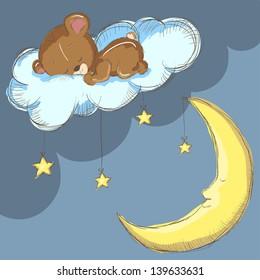 Sleeping bear on a cloud with moon and stars