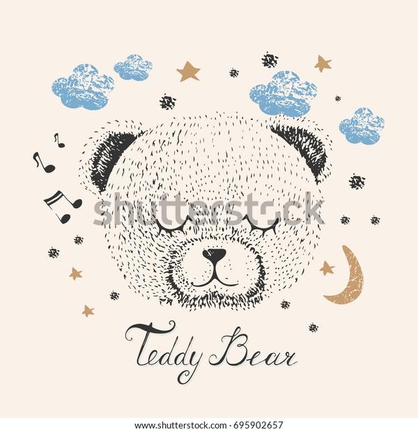 Sleeping Bearhand Drawn Vector Illustration Be Stock Image