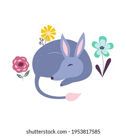 Sleeping bilby in flowers cartoon vector illustration. Australian cute marsupial animal. Easter aussie nature bunny bandicoot. Funny kids icon