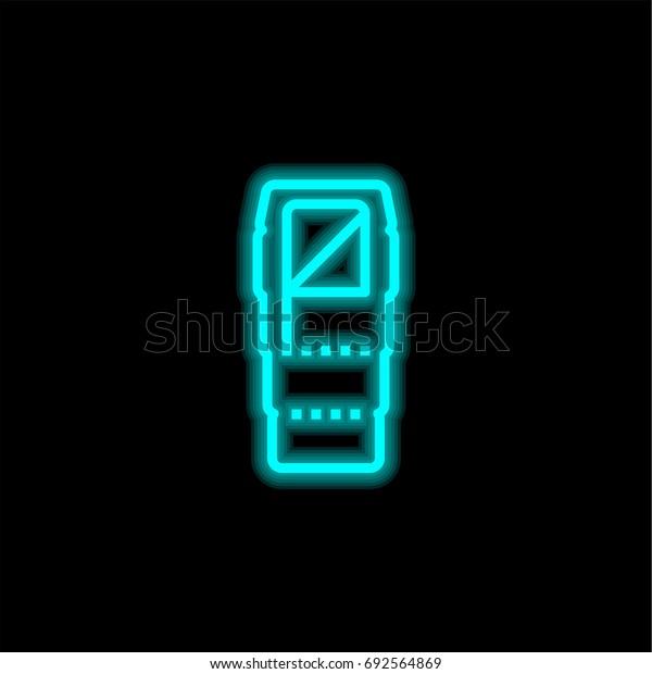 Sleeping blue glowing neon ui ux icon. Glowing sign logo vector