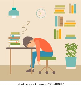 sleeping boy at school, book on desk, vector illustration of sleep,