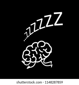 Sleeping brain. Vector concept illustration of inactive mind | flat design linear infographic icon white on black background