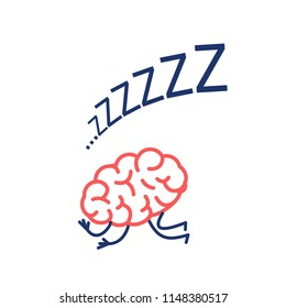 Sleeping brain. Vector concept illustration of inactive mind | flat design linear infographic icon red and blue on white background