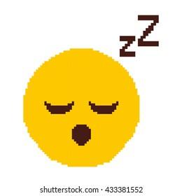 Sleeping Cartoon Face Pixel Art Icon