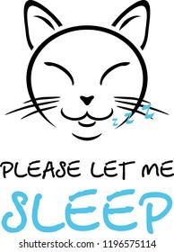 Sleeping cat. Cartoon drawing for design. Vector