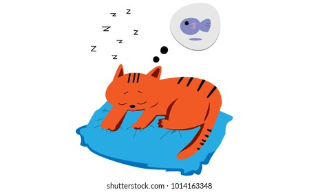 Sleeping cat dreams about its love fish.Animal vector illustration concept.