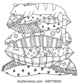 Sleeping cat on a pile of pillows. Pattern for coloring book. Artistically patterns. Hand-drawn, retro, doodle, vector, zentangle design elements. Hand-drawn vector illustration.