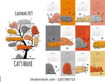 Sleeping cats. Design calendar 2019