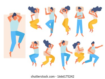 sleeping couple. family characters have a rest in band night relax different poses. vector male female sleeping top view