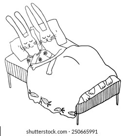 Sleeping couple of rabbits. Hand drawn illustration.