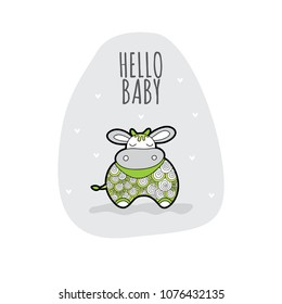 Sleeping cow with the words hello baby vector illustration on a pale grey background with hearts