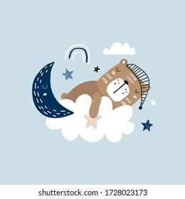 Sleeping cute bear on a cloud. Childishsweet dream with bear illustration. Perfectly look on t-shirt, poster, nursery decoration, apparel design. Kids Vector Illustration