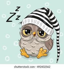 Sleeping cute owl in a hood on a blue background