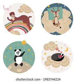Sleeping deer, sweet badger, cute panda, merry otter. Set of cute animals for nursery. White isolated vector stock illustration EPS 10.