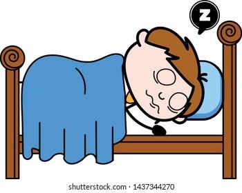 Sleeping and Dreaming - Office Salesman Employee Cartoon Vector Illustration