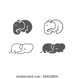 Sleeping Elephant Flat Icon