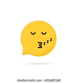 sleeping emoji speech bubble logo. concept of character sticker, somnolent person, web simple circle sign, rest, slumbery, mood. flat style trend modern logotype graphic design on white background