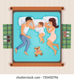 Sleeping family lying on bed top view composition with parents and little son, teddy bear vector illustration