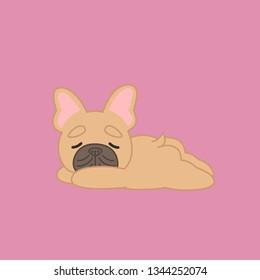 Sleeping Fawn Coat French Bulldog From Side Cartoon Dog Vector Illustration