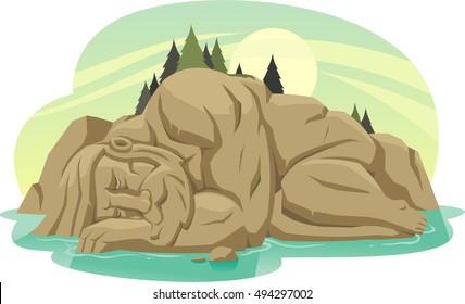 sleeping giant island cartoon illustration