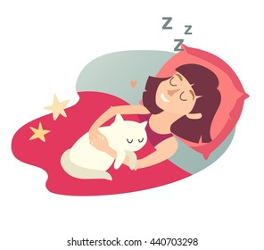 Sleeping girl with cat. Cartoon happy woman. Sweet dreams. Sleeping girl icon. Sleep at home, sleeping cat. Vector illustration on white background. Flat sticker