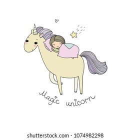A sleeping girl and a unicorn. Design for children's pajamas. Time to sleep. Good night. Sweet Dreams