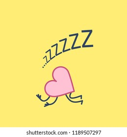 Sleeping heart. Vector concept illustration of inactive heart and love | flat design linear infographic icon on yellow background