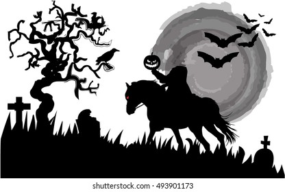 Sleeping Hollow vector silhouette.Headless Horseman rides under the full moon.
